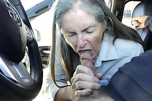granny blowjob adjacent to motor vehicle - cum