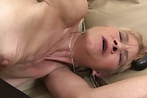 Granny fucked hard in her ass unconnected with black guy she gets creampied