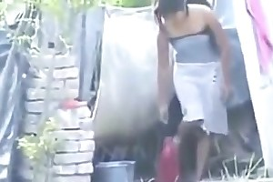 Indian hot townsperson explicit irrigate outside,